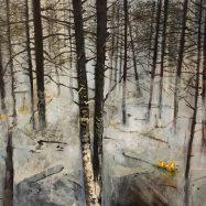 Bosque de humo, 2019 acrilico sobre madera 25 x 30 cms.