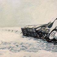 Man and the blizzard, 2019 acrilico sobre madera, 15 x 30 cms.