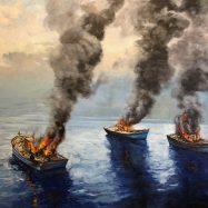 Quemando las naves, 2019 oleo sobre tela, 120 x 150 cms.