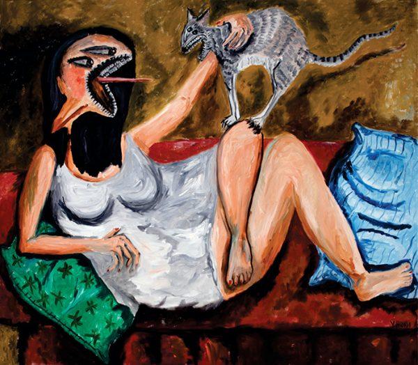 Mujer con Bata Blanca y Gato